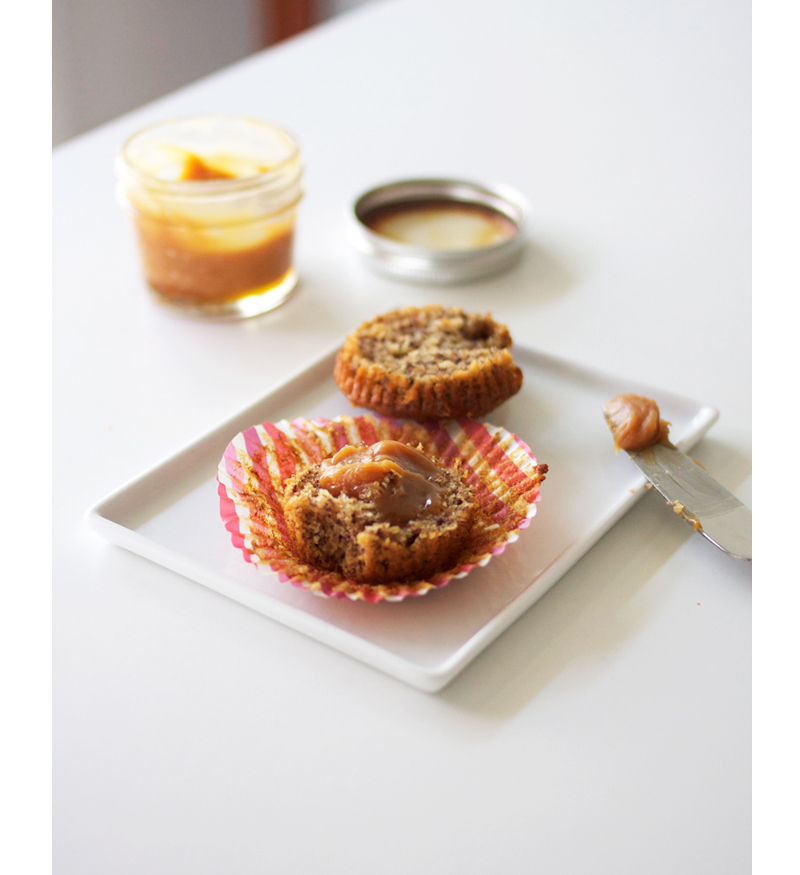 salted caramel and banana bread muffins