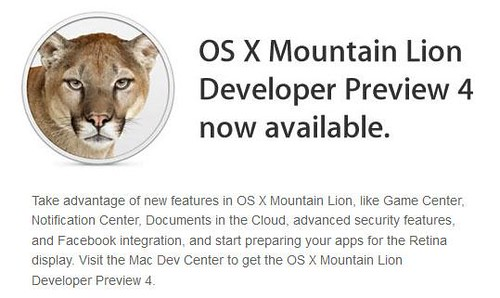OS X Mountain Lion Preview 4