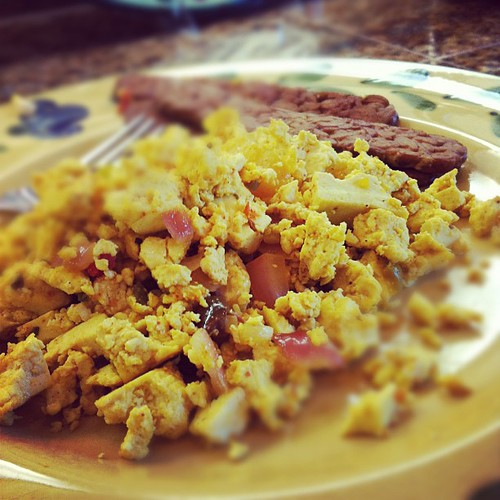 Belated mother's day breakfast of tofu scramble and tempeh bacon