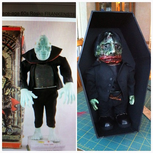 Realized today that this FrankenNag was inspired by the vintage 50s Rosko toy Blushing Frankenstein which makes me love it more. This is how I spend Friday nights as well, making coffins for man dolls