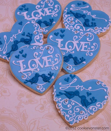 Blue white & silver wedding favour custom cookies