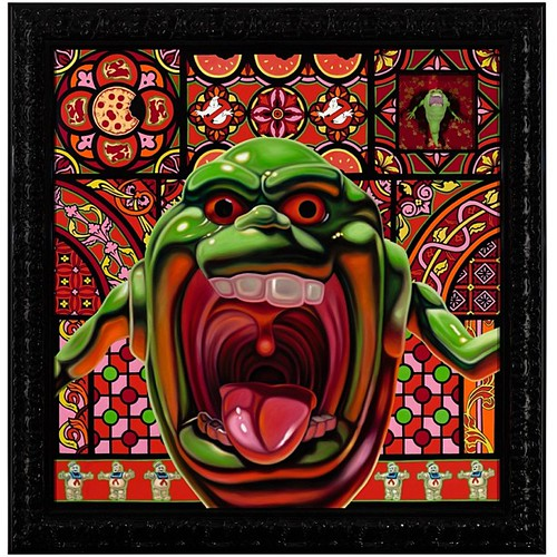 """""""Kenner's Slimer (The Real Ghostbusters, 1984)"""" - part of #whitewallssf winter group show 2012 - oil on panel 56x55"""" by #robertxavierburden #ghostbusters #1984 #iaintafraidofnoghost #supernatural #slimer #tbt #throwback #throwbackthursday by White Walls and Shooting Gallery"""