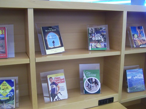 The Salt Lake City Central Library did a display of biking related books for May, National Bike Month, including the book _City Cycling_