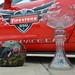 Firestone 550 pace car, trophy, and event helmet