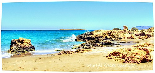 Aqua Sea and Rocks in Chania, Crete, Greece by sawelli