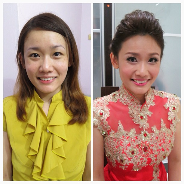 Wedding Day Makeup Before And After : Wedding day makeup and hairdo, before and after. Bride ...