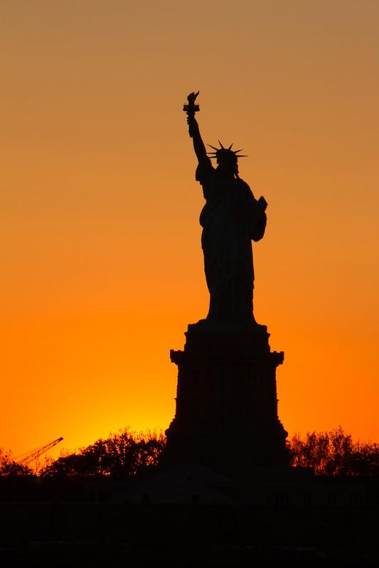 Miss Liberty at sunset