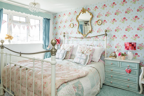 The Wallpaper Is Cath Kidston Antique Rose; The Gilt Mirror Was From The  Tip And The Little Floral Pictures Were From A Car Boot Sale As Was The  Crystal ...