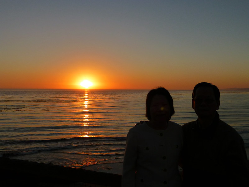Parents' Silhouette at Moonstone Beach Sunset in Cambria