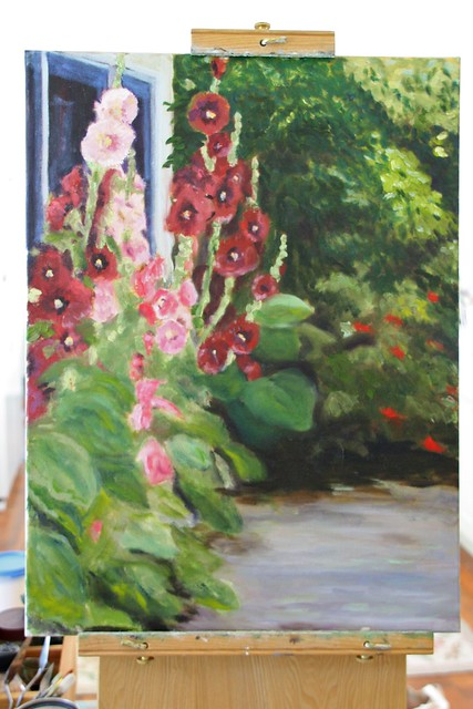 Before ~ Hollyhocks