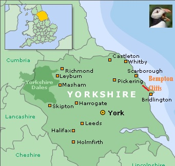 Mapa de Bempton Cliffs en Yorkshire (Inglaterra)