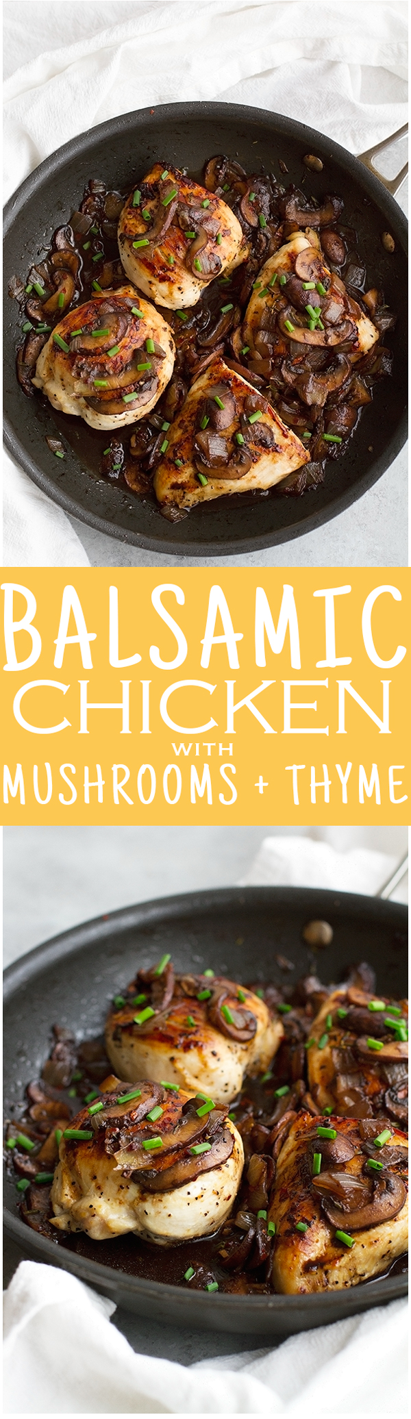 Balsamic Chicken with Mushrooms and Thyme - 30 minutes and super easy to pull together. Perfect for weeknights! #chickendinner #balsamicchicken #roastedchicken | Littlespicejar.com