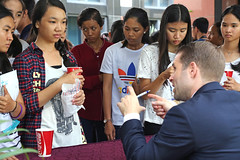 """More than 250 young Cambodians who received a """"Grade A"""" on the 2016 National High School Exam visited the Embassy on Sunday for a special event to promote study in the United States."""
