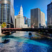 Chicago River dyed blue for Cubs World Series championship parade (Trump Tower and Wrigley Building) by spudart