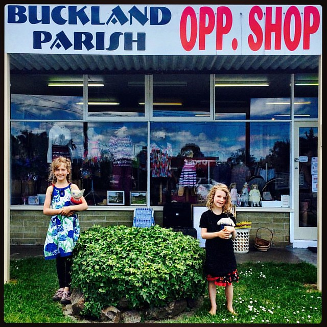 247/365 • both Smalls walked out of this excellent op-shop wearing entirely new outfits - another ? for the beautiful #Triabunna #Spring2016 #discovertasmania #tasmaniagram #tasmania #bellalunaboat #8yo #6yo #opshop