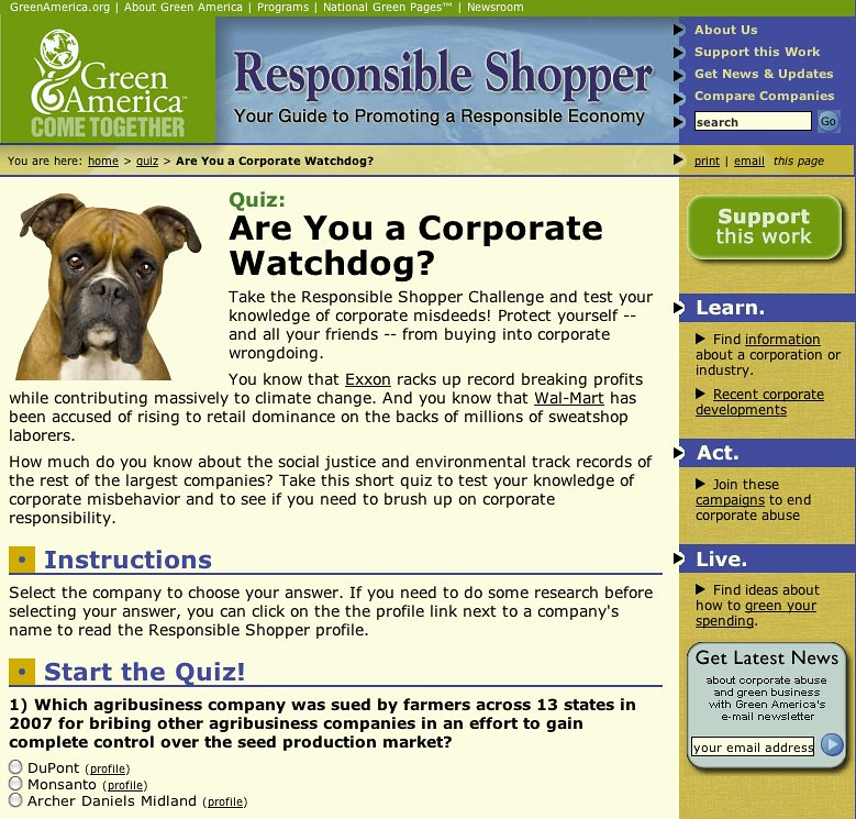 2009: Responsible Shopper Corporate Watchdog Quiz | My role