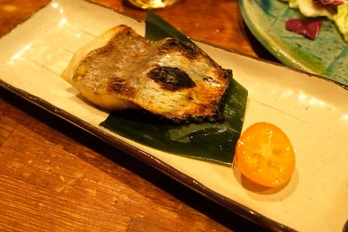 miso grilled fish, so delicious~ the cherry tomato looking thing is actually a 柑桔.