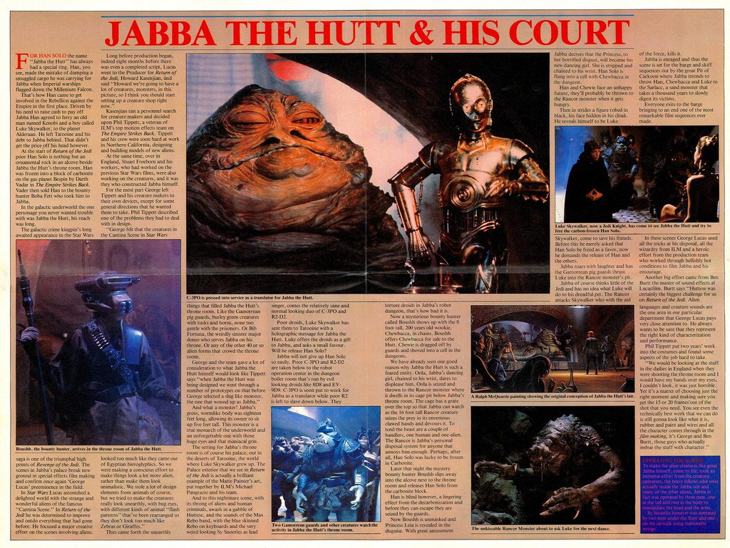 star wars return of the jedi poster magazine jabba the hutt boushh carbonite jedi luke rancor gammorean guard