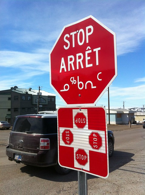 Trilingual stop sign #iqaluit