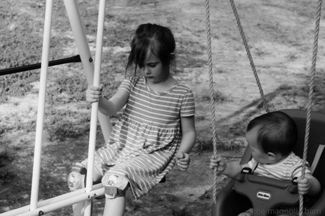 girls on swingset b&w