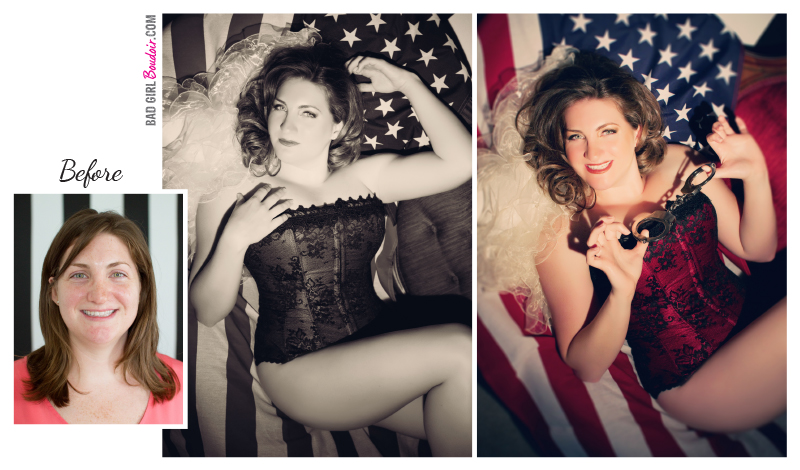 Patriotic Boudoir American Flag Pin-up Girl Photography