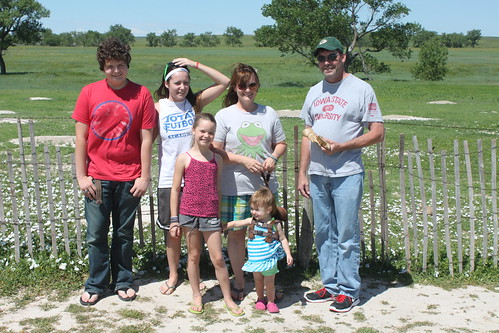 Reha family in front of prairie dog village