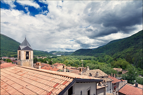 park old trees houses italy parco mountain lake mountains tower church nature landscape outdoors ancient europe italia village view rooftops centre medieval historic hills national range 1022mm abruzzo laquila apennine nazionale apennines barrea villetta lagodibarrea parconazionaledabruzzolazioemolise