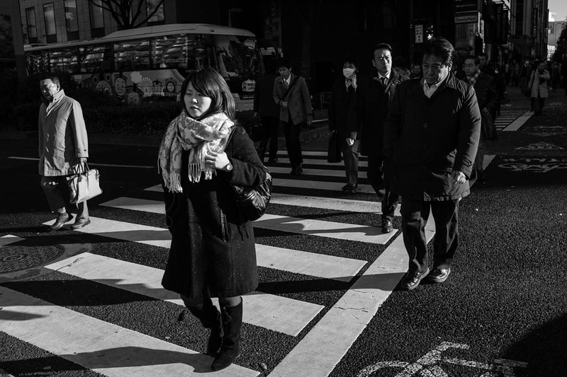 Commuting to work, lost in thoughts early in the morning at Shinjuku. It can be busy on the streets with the noise of traffic, yet silent at the same time at people walk briskly to work without stopping and without speaking to each other.