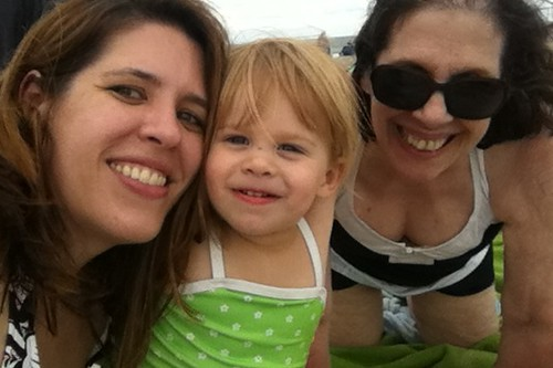 me, Lucy & my mom on the beach