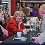 Sandi Toksvig signing books for her fans |