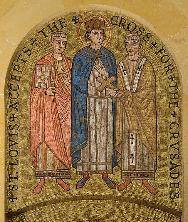 Cathedral Basilica of Saint Louis, in Saint Louis, Missouri, USA - mosaic 10 in Narthex - St. Louis Accepts the Cross for the Crusades