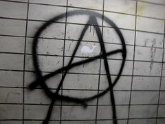 Anarchy sign painted in Cumberland, Maryland pedestrian tunnel