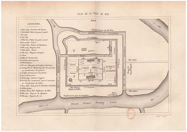 1867 PLAN DE LA VILLE DE HUÉ - Bản đồ Thành phố Huế
