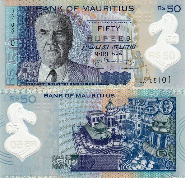 50 Rupií Maurícius 2013, polymer