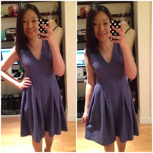 LOFT Slubbed jacquard flare dress