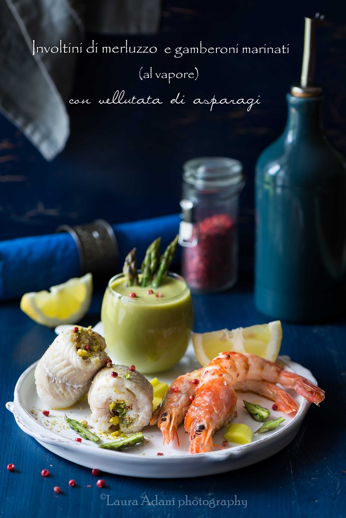 cod rolls and marinated prawns with asparagus soup