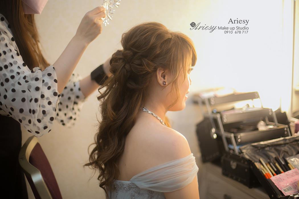 Ariesy,愛瑞思,新娘秘書,北部推薦,北投儷宴,結訂同天,自然輕透妝感,韓國手工飾品,蓬鬆編髮,空氣感線條造型