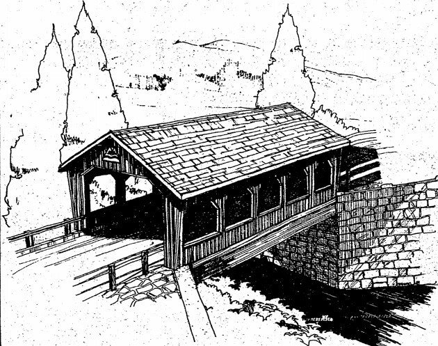 Cedar Crossing Covered Bridge Sketch