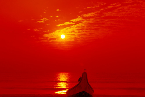 無料写真素材, 自然風景, 朝焼け・夕焼け, 海, 水平線, 船・船舶, 橙色・オレンジ