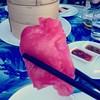 Ever had luminous pink spicy prawn dumpling? #foodspotting #jeroxieeats