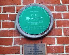 Photo of James Bradley green plaque