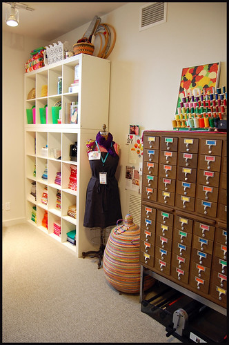 shelves and card catalog in studio