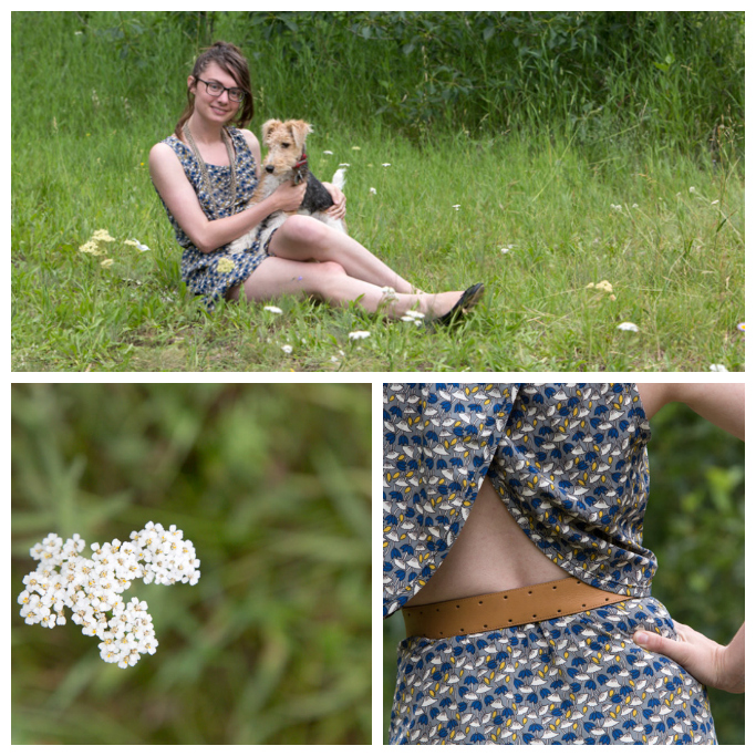 belt, chain necklace, cut-out, cut-out dress, blue dress, print dress, wire fox terrier, Never Fully Dressed,
