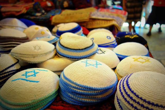 Jewish Kippas being sold in Jewish quarter in the Old City