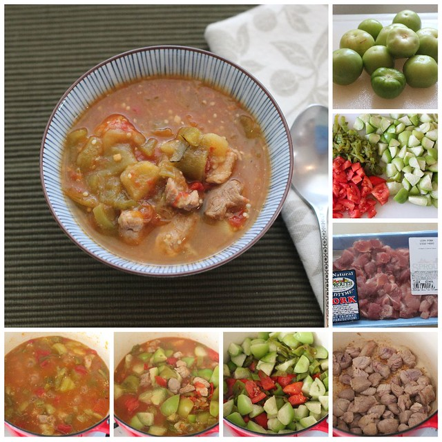 Hatch Chile Pork Chili collage - making