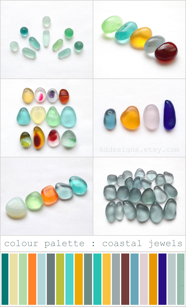 colour palette : coastal jewels // all images Endlesshue for 6d Designs, palette curated by Emma Lamb