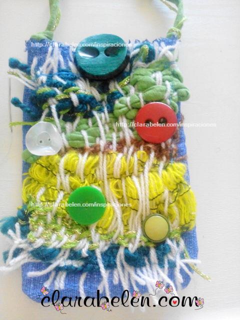 bolso hippy con lana tejida en bastidor