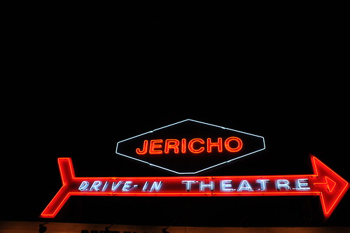 Jericho Drive-In sign at night