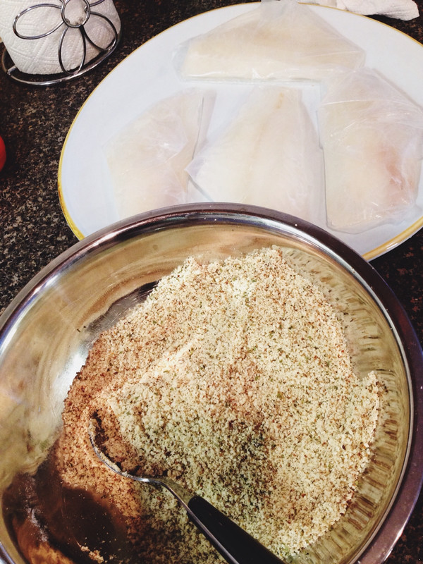 Almond meal fish crust