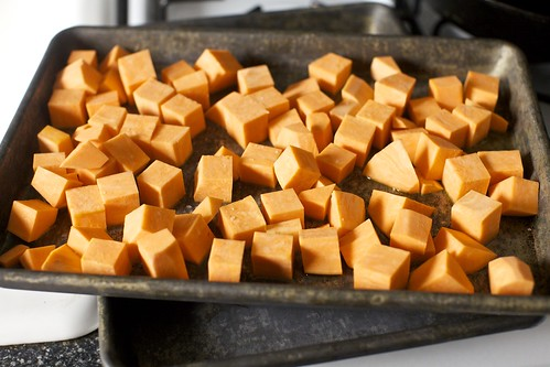 sweet potatoes, ready to roast